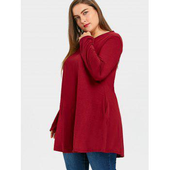 Plus Size Long V Neck Tunic Top - WINE RED 2XL
