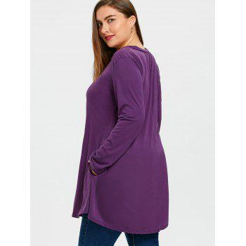 Plus Size Long V Neck Tunic Top - PURPLE 2XL