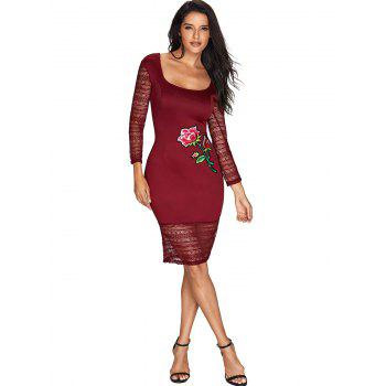 Flower Embroidered Lace Insert Bodycon Dress - WINE RED S