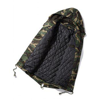 Zip Up Drawstring Hooded Camo Parka Coat - CAMOUFLAGE 3XL