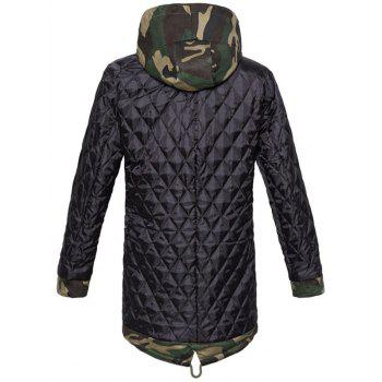 Zip Up Drawstring Hooded Camo Parka Coat - CAMOUFLAGE CAMOUFLAGE