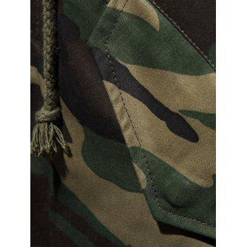 Zip Up Drawstring Hooded Camo Parka Coat - CAMOUFLAGE L