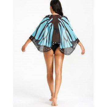 Butterfly Wing Sheer Beach Cover Up - BLUE/BLACK ONE SIZE