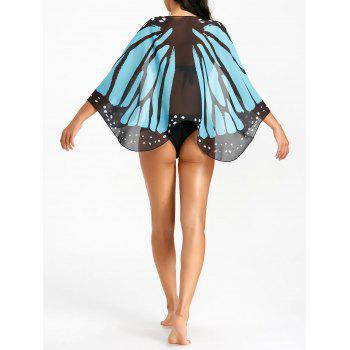 Butterfly Wing Sheer Beach Cover Up - BLUE AND BLACK BLUE/BLACK