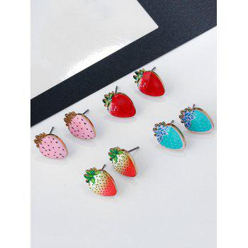 Cute Strawberry Tiny Stud Earrings - RED/WHITE