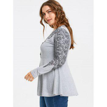 Plus Size Buttons Printed Long Sleeve T-shirt - GRAY XL