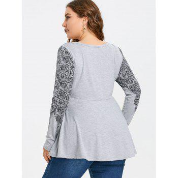 Plus Size Buttons Printed Long Sleeve T-shirt - GRAY 2XL