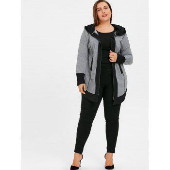 Plus Size Two Tone Dolphin Hem Hoodie - GRAY 3XL
