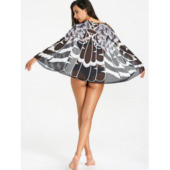 Printed Sheer Beach Cover Up - BLACK ONE SIZE