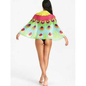 Peacock Feathers Print Beach Cover Up - ROSE RED ONE SIZE