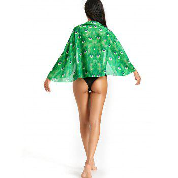 Peacock Feathers Pattern Sheer Beach Cover Up - GREEN GREEN