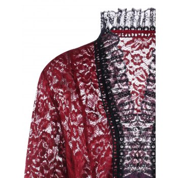Lace Up Plus Size Gothic Lace Cardigan - WINE RED XL