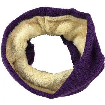 Striped Pattern Thicken Velvet Knitted Infinity Loop Scarf