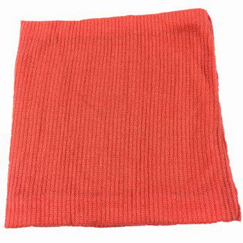 Striped Pattern Thicken Velvet Knitted Infinity Loop Scarf -  WATERMELON RED