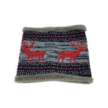 Ethnic Style Thicken Velvet Knitted Eternity Scarf - RED RED
