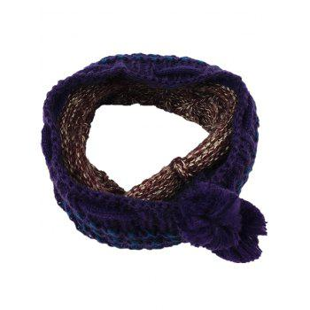 Outdoor Colormix Pattern Crochet Knitted Eternity Scarf - BLUE BROWN BLUE BROWN