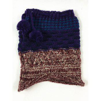 Outdoor Colormix Pattern Crochet Knitted Eternity Scarf -  BLUE BROWN