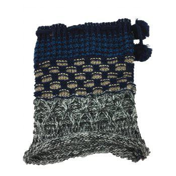Outdoor Colormix Pattern Crochet Knitted Eternity Scarf -  GRAY/BLUE