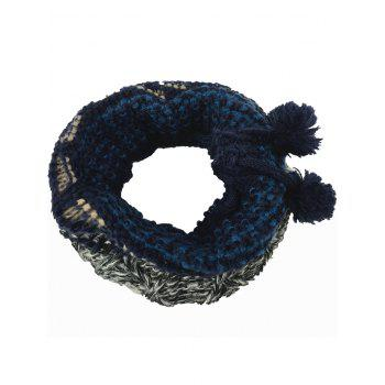 Outdoor Colormix Pattern Crochet Knitted Eternity Scarf - GRAY AND BLUE GRAY/BLUE