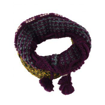 Outdoor Colormix Pattern Crochet Knitted Eternity Scarf - RED YELLOW RED YELLOW