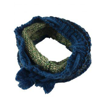 Outdoor Colormix Pattern Crochet Knitted Eternity Scarf - BLUE GREEN BLUE GREEN