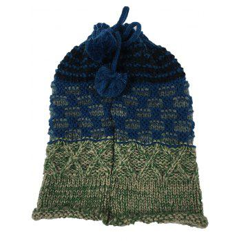 Outdoor Colormix Pattern Crochet Knitted Eternity Scarf - BLUE GREEN