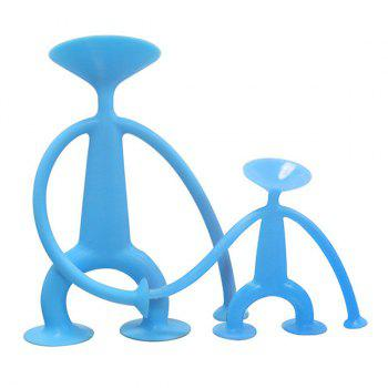 Silicone Sucker Man Puppet Toy Kid Educational Toys - BLUE H:7.5CM