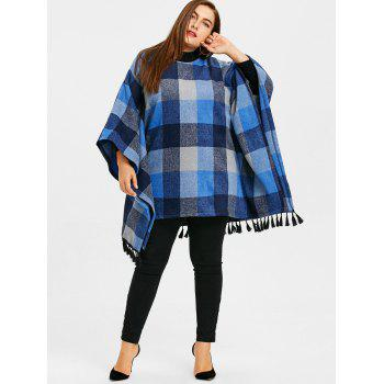 Plus Size Tassel Plaid Batwing Sleeve Coat - BLUE BLUE