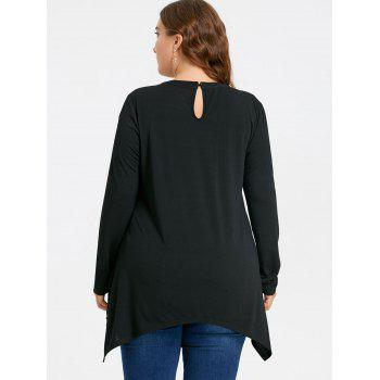 Plus Size Criss Cross Long Sleeve Asymmetrical T-shirt - COLORMIX 3XL