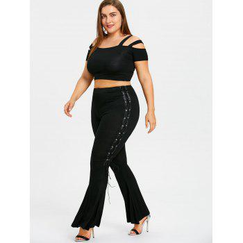 Plus Size Lace Up Sides Flare Leggings - BLACK BLACK