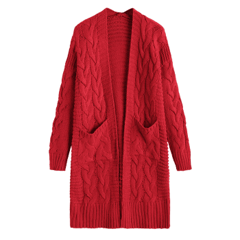 Cable Knit Longline Pockets Cardigan - DEEP RED ONE SIZE