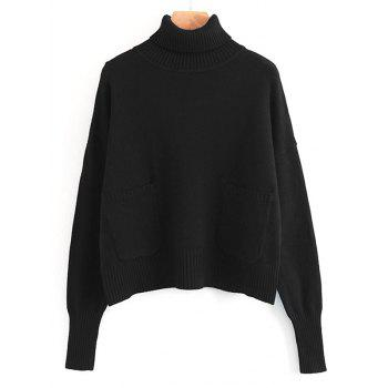 Turtleneck Pullover Sweater with Pockets - BLACK ONE SIZE