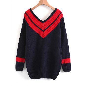 Two Tone V Neck Sweater - RED ONE SIZE