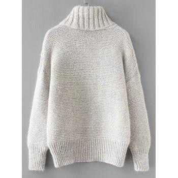 Turtleneck Textured Cable Knit Sweater - LIGHT GRAY ONE SIZE