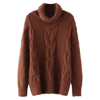 Turtleneck Textured Cable Knit Sweater - BROWN ONE SIZE