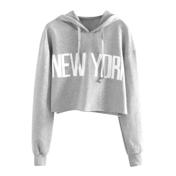New York Drawstring Cropped Hoodie - GRAY S