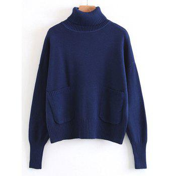 Turtleneck Pullover Sweater with Pockets - DEEP BLUE ONE SIZE