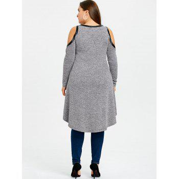 Plus Size Ripped Strappy High Low Long Top - GRAY 2XL