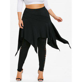 Plus Size Ladder Ripped Skirted Leggings - BLACK 2XL