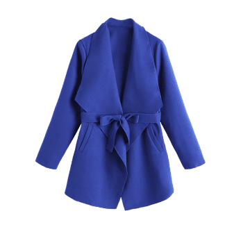 Belted Plain Coat with Pockets - BLUE M