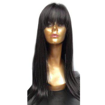 Long Full Fringe Straight Synthetic Wig -  BLACK