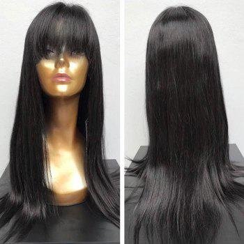Long Full Fringe Straight Synthetic Wig - BLACK BLACK