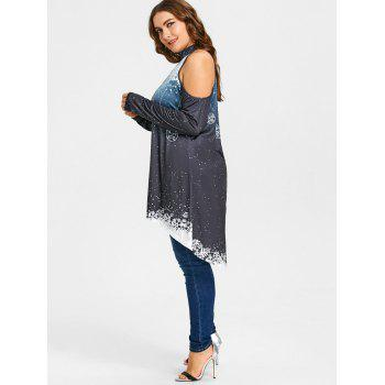 Christmas High Low Cold Shoulder Plus Size T-shirt - DEEP GRAY XL
