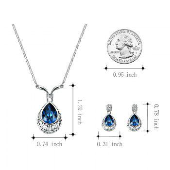 False Crystal Gem Water Drop Shape Jewelry Set - BLUE