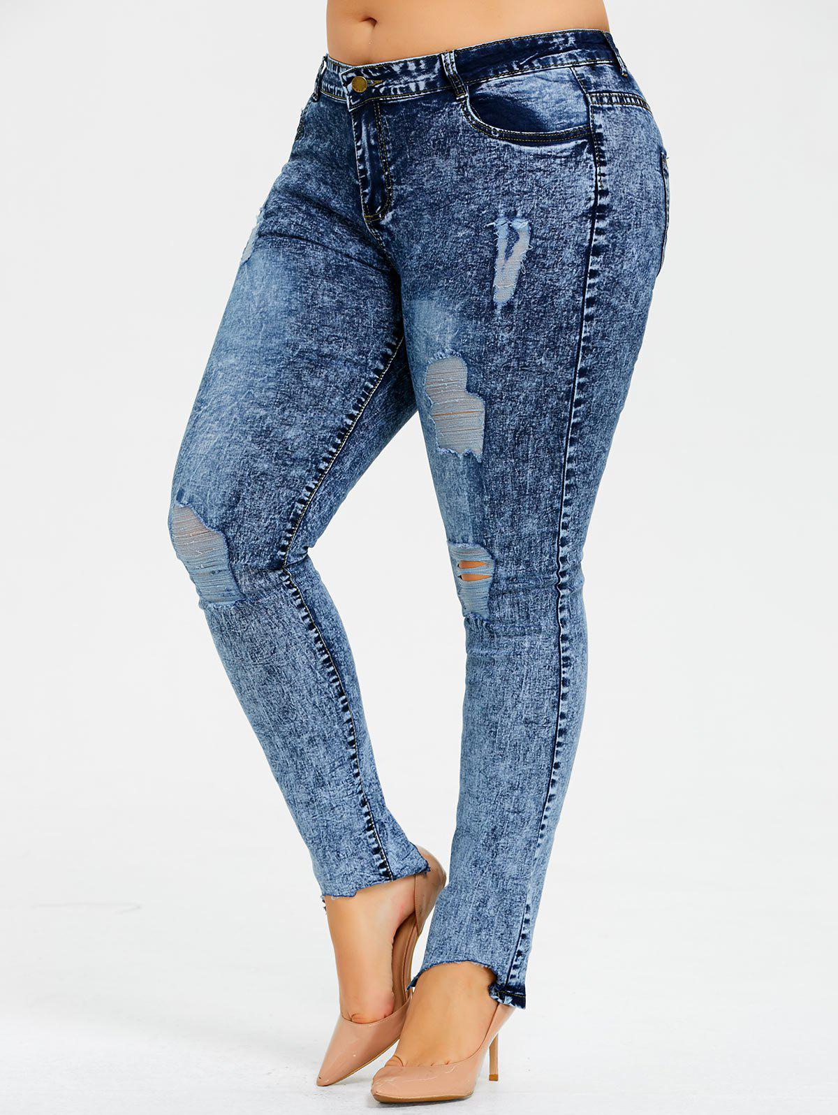 Plus Size Skim Snow Wash Ripped Jeans недорого