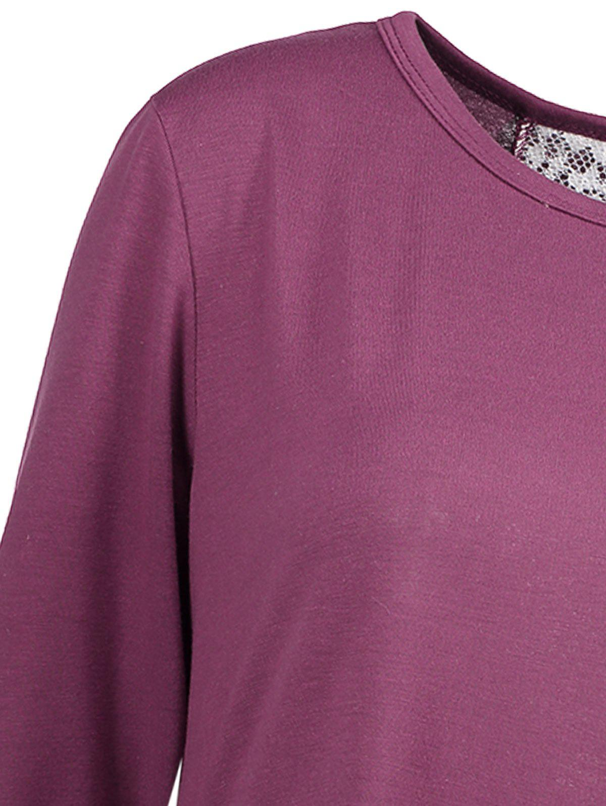 Hollow Out Ruffle Blouse - PURPLE XL