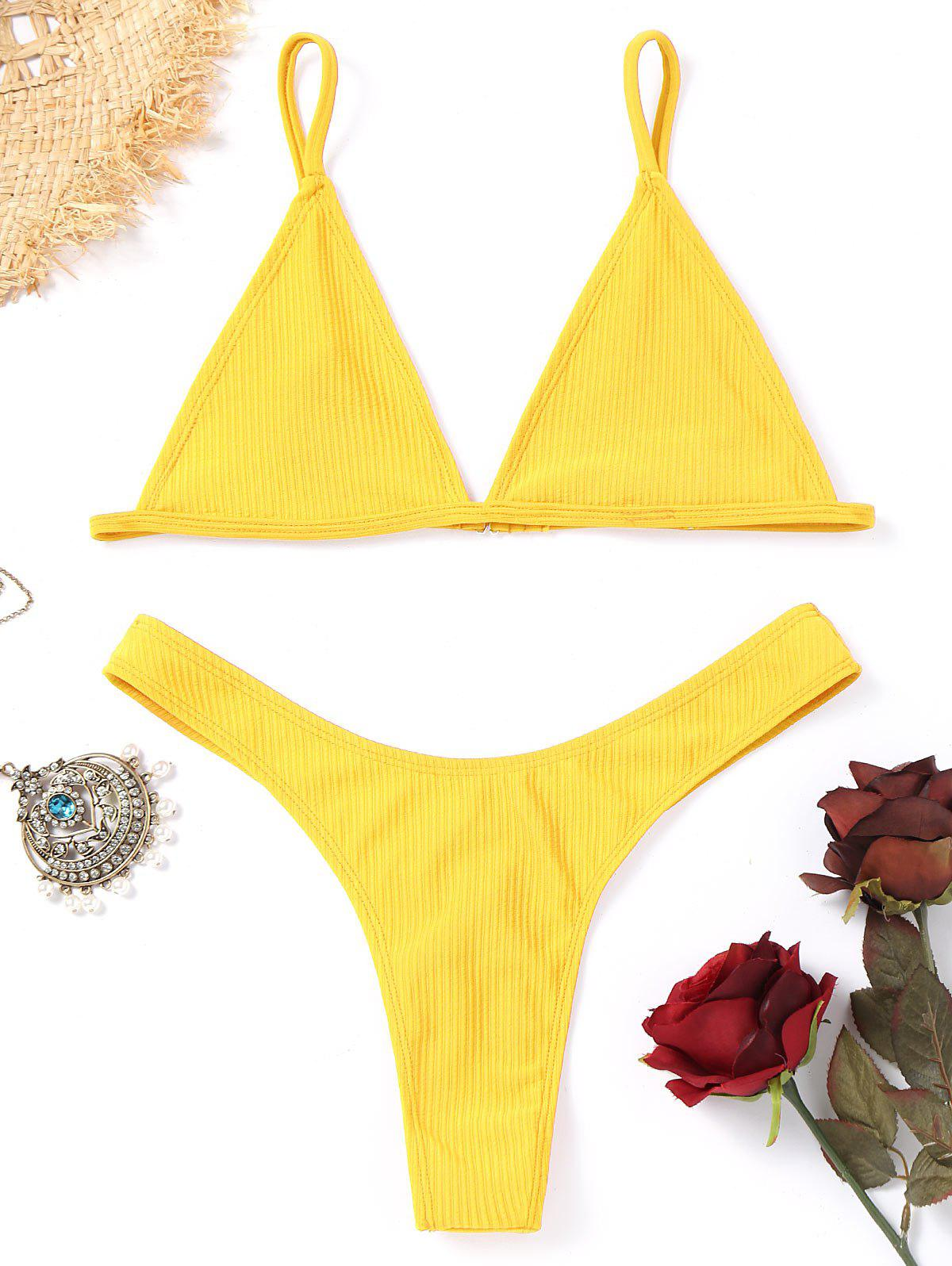 Unlined Thong Bathing Suit - YELLOW L