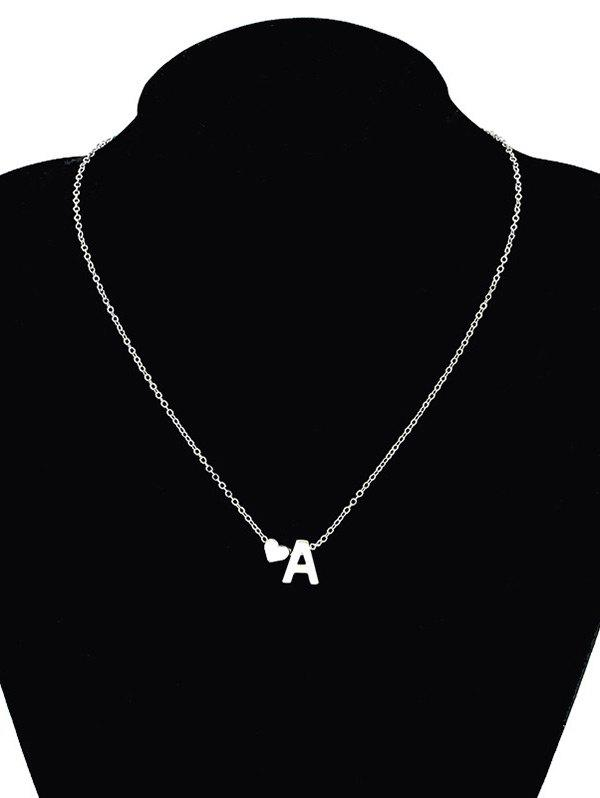 Heart Letter A Collarbone Pendant Necklace letter j heart collarbone pendant necklace