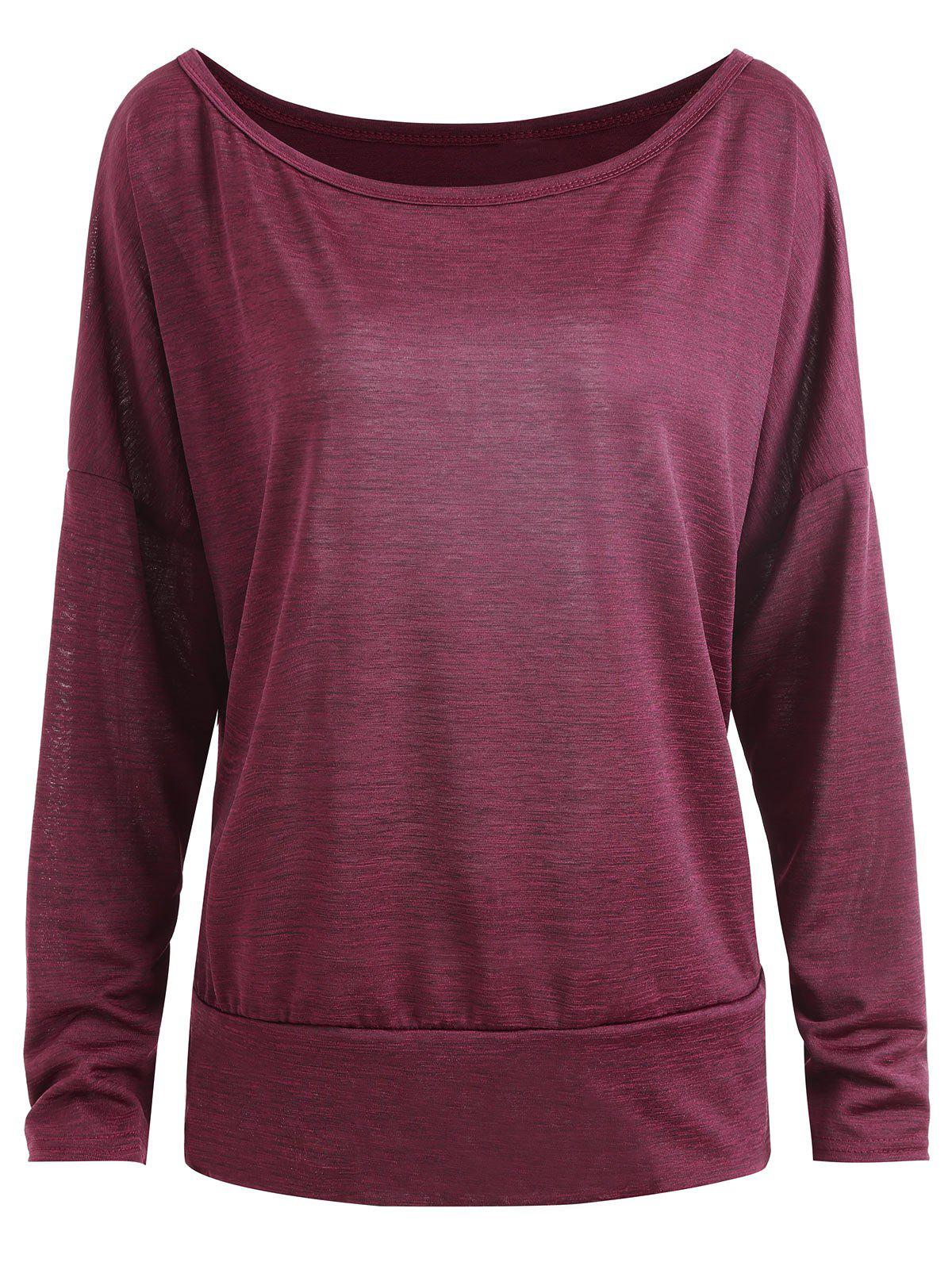 Drop Shoulder Scoop Neck Plus Size T-shirt - WINE RED 3XL