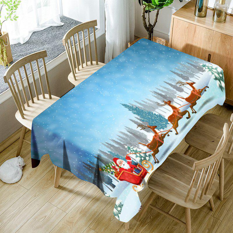 Snowfield Santa Sleigh Pattern Waterproof Fabric Christmas Table Cloth - CLOUDY W60 INCH * L84 INCH